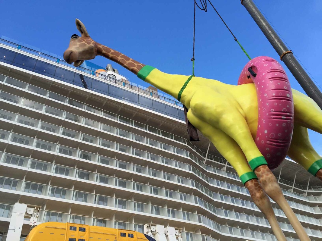 GiGi the Giraffe being installed on board Anthem of the Seas